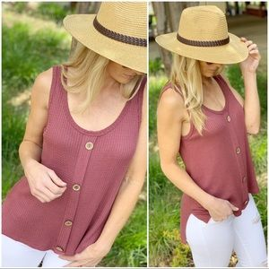 Infinity Raine Tops - ✨RESTOCKED✨MARSALA WAFFLE KNIT BUTTON TRIM TANK